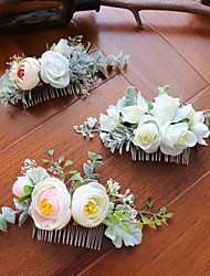 cheap -Fabrics Hair Combs with Floral 1 Piece Wedding / Party / Evening Headpiece