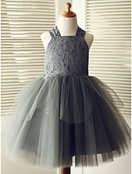 cheap -Ball Gown Knee Length Wedding / Birthday / Pageant Flower Girl Dresses - Lace / Tulle Sleeveless Square Neck with Bows