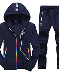 cheap -Men's 2-Piece Full Zip Tracksuit Sweatsuit Casual Long Sleeve Front Zipper Thermal / Warm Breathable Soft Running Fitness Jogging Sportswear Rainbow Athletic Clothing Set Athleisure Wear Black Dark