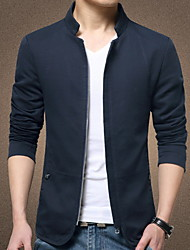 cheap -Men's Daily Regular Jacket, Solid Colored Notch Lapel Long Sleeve Polyester Black / Navy Blue / Beige