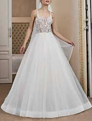 cheap -Ball Gown Wedding Dresses V Neck Sweep / Brush Train Tulle Spaghetti Strap Boho with Lace Insert 2020