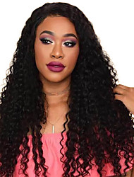 cheap -Remy Human Hair Lace Front Wig Deep Parting style Brazilian Hair Kinky Curly Natural Wig 130% Density Women Women's Medium Length Human Hair Lace Wig Premierwigs