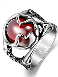 cheap -Men's Ring Ruby 1pc Silver Stainless Steel Geometric Fashion Daily Holiday Jewelry Hollow Out Flower Cool
