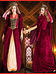 cheap -Princess Retro Vintage Medieval Renaissance Dress Headpiece Outfits Women's Costume Red Vintage Cosplay Party Halloween Long Sleeve Floor Length / Headwear