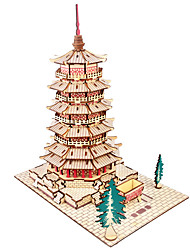 cheap -3D Puzzle Jigsaw Puzzle Model Building Kit Tower Famous buildings House Simulation Wooden Natural Wood Men's Unisex Toy Gift