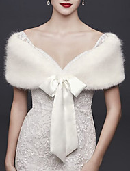 cheap -Short Sleeve Capelets Faux Fur Wedding Women's Wrap With Bow(s)