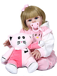 cheap -NPKCOLLECTION 20 inch Reborn Doll Baby Baby Girl Gift Hand Made Artificial Implantation Blue Eyes Full Body Silicone Silicone Silica Gel with Clothes and Accessories for Girls' Birthday and Festival