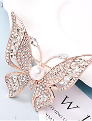 cheap -Women's Cubic Zirconia Brooches Hollow Out Butterfly Stylish Gold Plated Imitation Diamond Brooch Jewelry Golden Silver For Daily Work