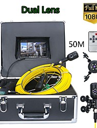 cheap -F7PS-2C-50M 7inch DVR 50M 1080P HD Dual Camera Lens Drain Sewer Pipeline Industrial Endoscope Pipe Inspection Video Camera
