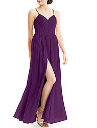 cheap -A-Line Spaghetti Strap Floor Length Chiffon Bridesmaid Dress with Split Front / Ruching / Open Back