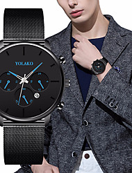 cheap -Men's Dress Watch Quartz Formal Style Modern Style Stainless Steel Black / Silver 30 m Calendar / date / day Stopwatch Casual Watch Analog - Digital Classic Fashion - Rose Gold Burgundy Blue Two