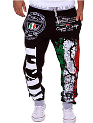 cheap -Men's Sporty Wide Leg Pants - Pattern Black White Blue US34 / UK34 / EU42 US36 / UK36 / EU44 US38 / UK38 / EU46
