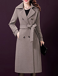 cheap -Women's Daily / Work Vintage / Sophisticated Fall & Winter Long Coat, Solid Colored Notch Lapel Long Sleeve Nylon Gray