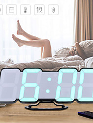 cheap -3D Wireless Remote Digital Wall Alarm Clock with 115 Color Variations of LED Digital Voice Control Mode Remote Controller 3 Levels of Brightness to Adjust