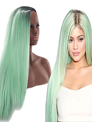 cheap -Synthetic Wig Straight Asymmetrical Wig Long Ombre Green Synthetic Hair 27 inch Women's Green