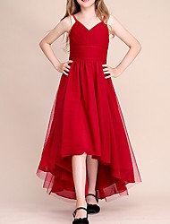 cheap -A-Line Spaghetti Strap Asymmetrical POLY Junior Bridesmaid Dress with Ruching