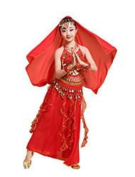 cheap -Kids' Dancewear Skirts Lace Glitter Wave-like Girls' Performance Theme Party Sleeveless Chiffon
