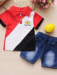 cheap -Baby Boys' Basic Color Block Print Short Sleeve Long Long Clothing Set Yellow