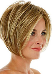 cheap -Synthetic Wig Straight Asymmetrical Wig Blonde Short Blonde Synthetic Hair 11 inch Women's Best Quality Blonde