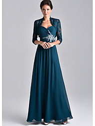 cheap -Two Piece A-Line Mother of the Bride Dress Elegant Spaghetti Strap Floor Length Chiffon Lace 3/4 Length Sleeve with Embroidery 2020