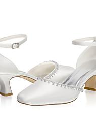 abordables -Femme Chaussures de mariage Block Heel Bout fermé Satin Doux Printemps été / Automne hiver Ivoire / Mariage