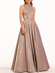 cheap -A-Line Elegant Prom Formal Evening Dress High Neck Sleeveless Floor Length Polyester with Pleats Beading 2021