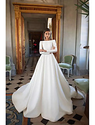 cheap -A-Line Wedding Dresses Bateau Neck Court Train Polyester Long Sleeve Simple Backless Elegant with 2020