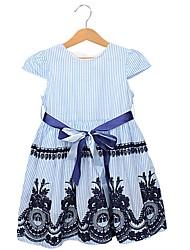 cheap -Kids Girls' Geometric Short Sleeve Dress Light Blue