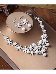 cheap -Women's Ivory Pearl Necklace Vintage Style Flower Shape Classic Baroque Earrings Jewelry Silver For Wedding Party 1 set