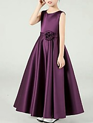 cheap -A-Line Crew Neck Ankle Length Satin Junior Bridesmaid Dress with Appliques / Bow(s)