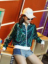 abordables -Costumes de Pom-Pom Girl Hauts Femme Utilisation Taffetas en Polyester Paillette Manches Longues Manteau