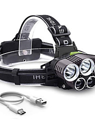cheap -LED Cross-Border Explosion Model 6 Mode USB Charging Outdoor Night Fishing 5LED Strong Light Headlight