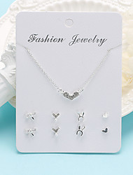 cheap -Women's Necklace Earrings Heart Trendy Korean Sweet Fashion Cute Earrings Jewelry Silver For Party Graduation Gift Daily Work
