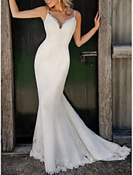 cheap -Mermaid / Trumpet Wedding Dresses V Neck Sweep / Brush Train Lace Satin Spaghetti Strap Plus Size with 2020