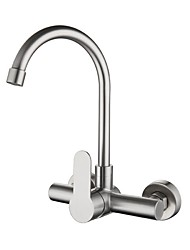 cheap -Kitchen faucet - Single Handle One Hole Electroplated Standard Spout / Tall / ­High Arc Wall Mounted Contemporary Kitchen Taps
