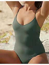 abordables -Femme Basique Vert Une-pièce Maillots de Bain - Couleur Pleine Dos Nu Croisé L XL XXL Vert