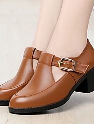 cheap -Women's Flats Chunky Heel Round Toe Leather Booties / Ankle Boots Fall Black / Brown / Burgundy