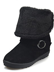 cheap -Women's Boots Flat Heel Round Toe Suede Mid-Calf Boots Winter Black / Brown / Khaki