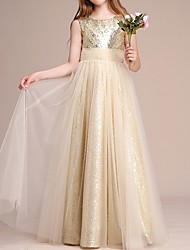 cheap -A-Line Round Neck Floor Length Tulle / Sequined Junior Bridesmaid Dress with Ruching