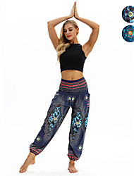 cheap -Women's High Waist Yoga Pants Harem Smocked Waist Bloomers Quick Dry Breathable Bohemian Hippie Boho Dark Blue Light Blue Fitness Gym Workout Dance Sports Activewear Stretchy Loose