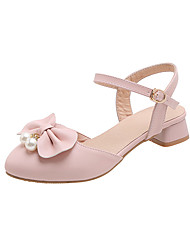 cheap -Women's Heels Low Heel Round Toe Bowknot / Imitation Pearl PU Casual / Minimalism Summer White / Pink / Beige