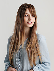 cheap -Synthetic Wig Bangs Straight Natural Straight Side Part With Bangs Wig Very Long Ombre Blonde Synthetic Hair 26 inch Women's Cosplay Women Synthetic Blonde Brown HAIR CUBE / Ombre Hair