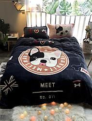cheap -Dog Germination Cartoon Flannel Duvet Cover Set Queen Bedding Cover Set Boys Girls Duvet Comforter Cover Set Luxury Soft Queen Duvet Cover Set