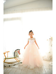 cheap -Ball Gown Floor Length Wedding / Birthday / Pageant Flower Girl Dresses - Lace / Tulle Short Sleeve Jewel Neck with Belt / Buttons