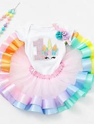 Недорогие -Детская одежда для танцев Платье Комбинация материалов Девочки Выступление На каждый день Заниженная талия Модал