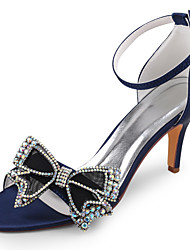 cheap -Women's Wedding Shoes Stiletto Heel Open Toe Rhinestone / Bowknot Satin Summer Black / Dark Purple / Dark Blue / Party & Evening