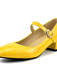 cheap -Women's Heels Low Heel Square Toe Patent Leather Casual / Minimalism Spring & Summer Black / White / Yellow