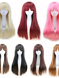 cheap -halloweencostumes Synthetic Wig Straight kinky Straight Asymmetrical Wig Long Light Blonde Light Brown Brown Pink Natural Black Synthetic Hair 27 inch Women's Best Quality Blonde Brown