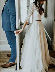 cheap -A-Line Wedding Dresses V Neck Sweep / Brush Train Tulle 3/4 Length Sleeve See-Through Illusion Detail with Lace Insert 2020