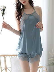 cheap -Women's Lace / Backless / Mesh Babydoll & Slips / Gartered Lingerie / Satin & Silk Nightwear Patchwork / Solid Colored Blue S M L